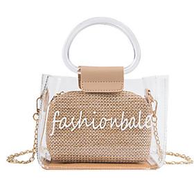 Women's PVC(PolyVinyl Chloride) / PVC Bag Set Laser Jelly Bags Solid Color 2 Pieces Purse Set Black / Blushing Pink / Orange / Fall  Winter