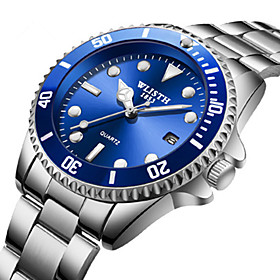 Men's Steel Band Watches Quartz Stylish Casual Water Resistant / Waterproof Analog Black Blue Green / Two Years / Stainless Steel / Calendar / date / day / Noc