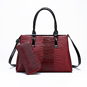 Women's Bags PU Leather Bag Set 2 Pieces Purse Set Zipper for Daily Black / Red / Coffee / Bag Sets