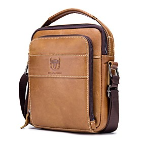 Men's Bags Cowhide Crossbody Bag Zipper Solid Color for Daily / Outdoor Earth Yellow / Black / Coffee / Fall  Winter