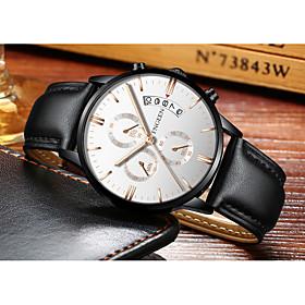 Men's Dress Watch Quartz Formal Style Stylish Luxury Calendar / date / day Analog Black / White Black / Rose Gold Black / One Year / Leather