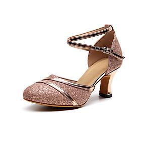 Women's Modern Shoes Heel Cuban Heel Leather Glitter Black / Red / Gold / Performance / Practice