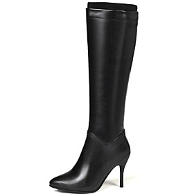 Women's Boots Knee High Boots Stiletto Heel Pointed Toe PU Knee High Boots Classic Fall  Winter Black / White / Party  Evening