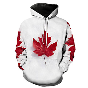 Men's Hoodie Trees / Leaves 3D Hooded Party Casual Hoodies Sweatshirts  White