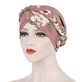 Women's Turban Work Basic Cute Nylon Lycra Floppy Hat-Solid Colored Floral Print All Seasons Black White Dusty Rose