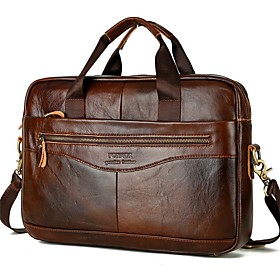 Men's Bags Nappa Leather / Cowhide Laptop Bag / Briefcase / Top Handle Bag Belt Zipper Solid Color for Daily Dark Brown / Fall  Winter