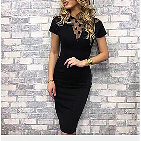 Women's Sheath Dress - Short Sleeve Polka Dot Solid Colored Lace Mesh Crew Neck Sophisticated Cocktail Party Going out Birthday Skinny Black S M L XL XXL