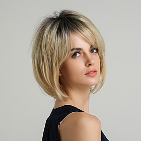 Synthetic Wig Straight Natural Straight Straight Bob Layered Haircut Short Hairstyles 2020 Wig Ombre Short Golden Blonde Synthetic Hair 10 inch Women's Dark Ro