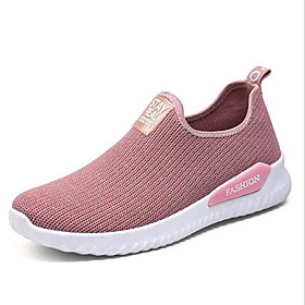 Women's Sneakers Comfort Shoes Spring / Summer / Fall Flat Heel Round Toe Sporty Casual Comfort Daily Solid Colored Mesh Running Shoes Black / Pink / Gray