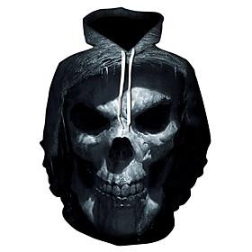 Men's Hoodie Geometric / 3D / Skull Hooded Casual / Street chic Black US32 / UK32 / EU40 US34 / UK34 / EU42 US36 / UK36 / EU44 US38 / UK38 / EU46 US40 / UK40 /