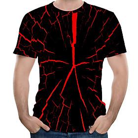 Men's Abstract Print T-shirt Basic Punk  Gothic Daily Wear Street Round Neck Black / Short Sleeve