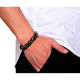 Men's Tiger's eye Stone Bead Bracelet Braided Faith Fashion Resin Bracelet Jewelry Black / Coffee For Daily Street