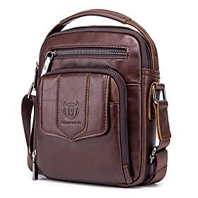 Men's Bags Cowhide Shoulder Messenger Bag Zipper Geometric for Holiday / Outdoor Dark Brown / Black / Light Brown
