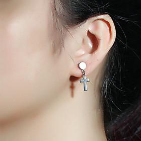 Men's Drop Earrings Geometrical Cross Dangling Trendy Stainless Steel Earrings Jewelry Gold / Black / Silver For Party Carnival Street Club Bar 1 Pair