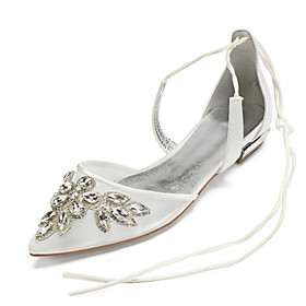 Women's Wedding Shoes Lace up Plus Size Flat Heel Pointed Toe Basic Vintage British Wedding Party  Evening Crystal Solid Colored Satin Mesh Summer White / Blac