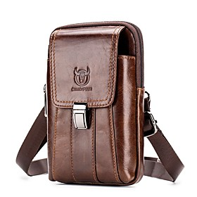 Men's Bags Cowhide Fanny Pack / Belt Pouch / Belt Bag Zipper Solid Color for Daily / Outdoor Dark Brown / Black / Fall  Winter