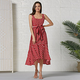 Women's Basic A Line Dress - Striped Color Block Red, Patchwork Print Drawstring Red L XL XXL