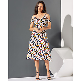 Women's Basic A Line Sheath Dress - Geometric White, Ruffle Patchwork Print White S M L XL