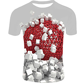 Men's 3D Graphic Print T-shirt Basic Daily Casual Round Neck Red / Summer / Short Sleeve