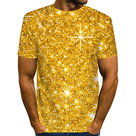 Men's 3D Graphic Print T-shirt Street chic Exaggerated Daily Casual Round Neck Gold / Summer / Short Sleeve