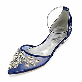 Women's Wedding Shoes Glitter Crystal Sequined Jeweled Plus Size Flat Heel Pointed Toe Vintage British Wedding Party  Evening Crystal Floral Solid Colored Sati