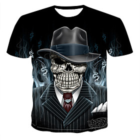 Men's 3D Graphic Print T-shirt - Cotton Punk  Gothic Casual Street Round Neck Black / Short Sleeve / Skull