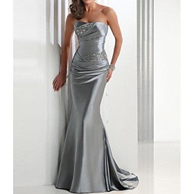 Mermaid / Trumpet Sparkle Grey Wedding Guest Formal Evening Dress Strapless Sleeveless Sweep / Brush Train Satin with Crystals 2020