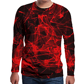 Men's 3D Graphic Print T-shirt Holiday Daily Wear Round Neck Red / Long Sleeve