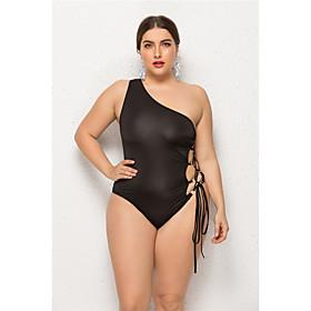 Women's Black Bikini Swimwear Swimsuit - Solid Colored S M L Black