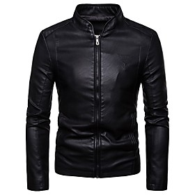 Men's Daily Basic Spring   Fall Regular Denim Jacket, Solid Colored Shirt Collar Long Sleeve Polyester Black / Wine / Brown