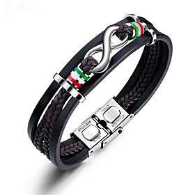 Men's Leather Bracelet Braided Infinity Stylish Leather Bracelet Jewelry Black For Gift Daily