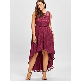 Women's Asymmetrical Trumpet / Mermaid Dress - Sleeveless Solid Colored Lace Elegant Slim Black Purple Red S M L XL XXL XXXL XXXXL XXXXXL