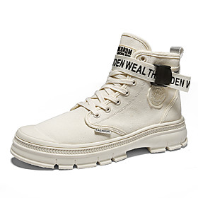 Men's Boots Combat Boots Work Boots Casual / Vintage Daily Outdoor Canvas Breathable Non-slipping Wear Proof Booties / Ankle Boots Khaki / Beige Fall  Winter