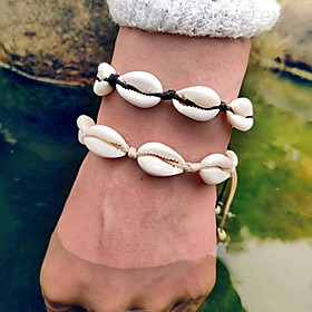 Women's Loom Bracelet Shell Puka Shell Tropical Cowry Bracelet Jewelry Black / Beige For Wedding Gift Carnival Going out Bikini