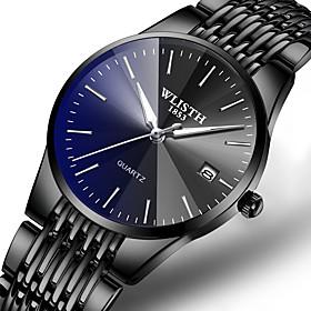 Men's Dress Watch Quartz Formal Style Stylish Luxury Calendar / date / day Analog Black / Blue Black / Silver Black / One Year / Stainless Steel / Noctilucent