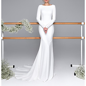 Mermaid / Trumpet Wedding Dresses Bateau Neck Sweep / Brush Train Satin Long Sleeve Mordern Backless with Buttons 2020