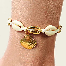Ankle Bracelet Women's Body Jewelry For Party Daily Cord Shell Alloy Gold 1pc