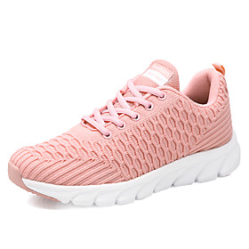 Women's Trainers / Athletic Shoes Flat Heel Round Toe Sporty Casual Daily Outdoor Solid Colored Tissage Volant Running Shoes Fitness  Cross Training Shoes Whit