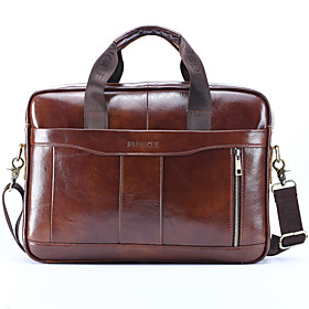 Men's Bags Nappa Leather / Cowhide Laptop Bag / Briefcase / Top Handle Bag Belt Zipper Solid Color for Daily Black / Brown / Fall  Winter