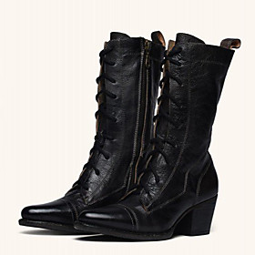 Women's Boots Knee High Boots Cowboy Western Boots Cuban Heel Pointed Toe Classic Vintage Punk  Gothic Daily Office  Career Solid Colored PU Mid-Calf Boots Win