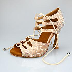 Women's Latin Shoes Heel Flared Heel Satin Glitter Crystal / Rhinestone Crystals Black / Almond / Performance