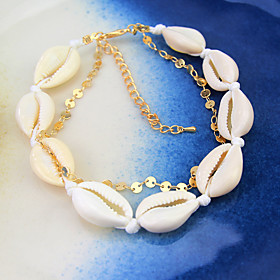 Ankle Bracelet Women's Body Jewelry For Party Daily Shell Alloy Gold 1pc
