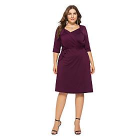 Women's Asymmetrical Purple Royal Blue Dress Elegant Bodycon Solid Colored Deep V Ruched L XL