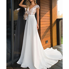 A-Line Wedding Dresses V Neck Sweep / Brush Train Lace Charmeuse Cap Sleeve Mordern See-Through with Appliques 2020