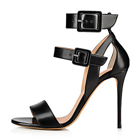 Women's Sandals Black Sandals Fall / Spring  Summer Stiletto Heel Open Toe Sweet British Daily Buckle Solid Colored Faux Leather Nude / Black