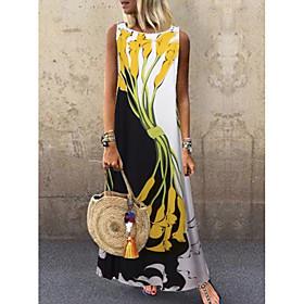 Women's A-Line Dress Maxi long Dress - Sleeveless Floral Print Spring  Summer Plus Size Casual Holiday vacation dresses 2020 Yellow S M L XL XXL 3XL 4XL 5XL