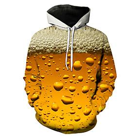 Men's Hoodie Color Block 3D Hooded Casual Streetwear Hoodies Sweatshirts  Yellow