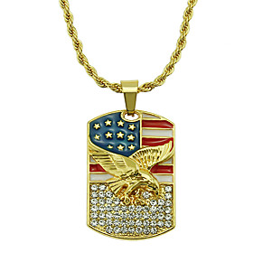 Men's Pendant Necklace Necklace Geometrical Eagle Statement Trendy Rock Fashion Chrome Imitation Diamond Gold 75 cm Necklace Jewelry 1pc For Daily Holiday Scho
