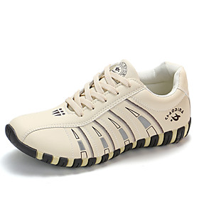 Women's Athletic Shoes Flat Heel Round Toe PU Sporty / Preppy Walking Shoes Spring   Fall / Winter White / Black / Beige / Color Block