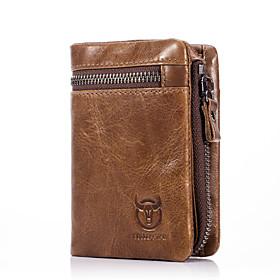 Men's Bags Cowhide Wallet Zipper Solid Color for Office  Career Black / Dark Coffee / Brown